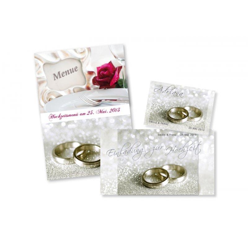 Einladungskarte Hochzeit Motiv Festlich Ringe