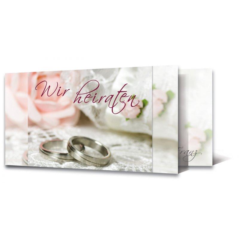 Einladungskarte Hochzeit Motiv Festlich Ringe Rose