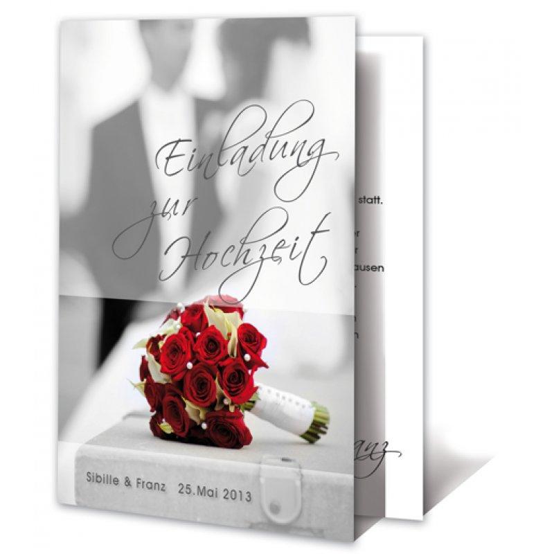 einladungskarte hochzeit motiv modern rosenstrauß, Einladungskarten
