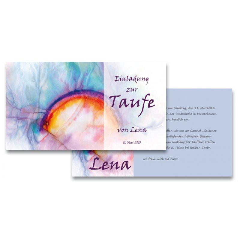 Einladungskarte Taufe Einfach Motiv Regenbogen Blau