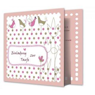 Einladungskarte Taufe Quadratisch Vintage Punkte Rosé